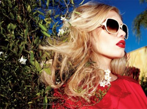 Yulia T by Matthias Vriens McGrath and Anne-Marie Curtis Elle May 2011 Fendi dress and Valentino sunnies
